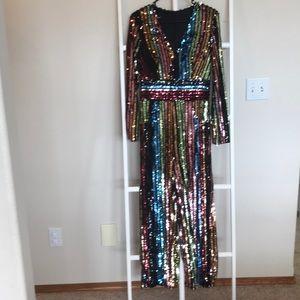 Vici collection sequin jumpsuit size medium.
